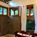 Incredible bathroom. Open shower and sunken soaking space
