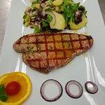 Tuna steak and potato salad