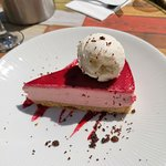 New white chocolate and raspberry cheesecake with icecream