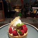 Raspberry tart with home made crust with lavender & yoghurt ice cream! So delicious!