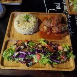 Turkish Kofte (minced meat patties with potatoes, gravy, rice and salad)
