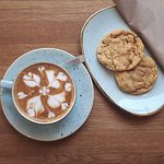 Strumpets latte and peanut butter cookies