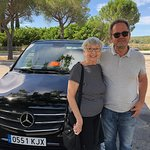 My wife and our driver Pere at a rest stop.