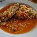 O arroz de marisco no prato