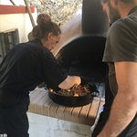 Cooking in wood fired oven