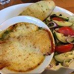 sweet potato lasagne with garlic bread