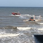 Sheringham beach and watching the lifeboats launch
