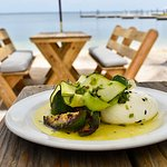 Burrata with grilled zucchini, jalapeño and mint. (snack to share)