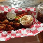 Hot Chicken Bites with Cole Slaw.