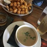 Soup of the day and cajun tater tots