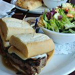 steak sandwich and salad