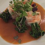 Steamed Prawns and Broccoli Florets with a Bisque Cream