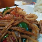 Shrimp and squid with basil