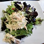 Dizzy Chicken Salad w/ carrots, parsnips, celery, & lemon aioli, greens, olives, red peppers, on