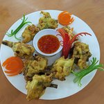The final products (Cucur Udang - Prawn fritters)