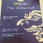 Menu Thai Restaurant Foto
