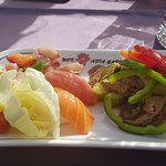 Chilli Beef Salad and Sushi starter