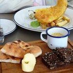 Fish&Chips and bread at The Baths at Clontarf