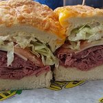 Roast Beef piled high on freshly baked three cheese bread.