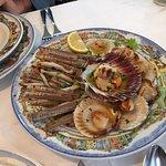 shared starter of razor clams, scallops