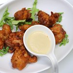 IPA Beer-Battered Chicken poppers, with Maple Bourbon Aioli.