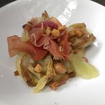 Another main course dish, featuring pork with artichokes & croutons