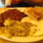 Steak,eggs,hash browns, toast 6.75