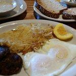 Eggs, Turkey sausage, hash browns, whole wheat toast