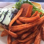 Blackened cajun tuna sandwich and sweet potato fries