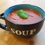 not too hot for soup, tomato and roast red pepper. one of our most popular all year round.
