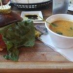 Burger and squash soup!