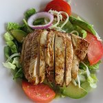 8 oz. Chicken salad with fresh avocado, tomatoes,mozzarella, and lettuce