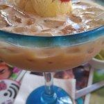 Carmel Margarita with vanilla ice cream.