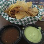 CHIPS with SPICY RED PEPPERY SAUCE & THICK GREEN SAUCE