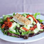 Organic Baby Greens Salad - Roasted Bell Pepper, Cucumber, Walnut-Crusted Brie, House Balsalmic