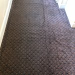The hallway carpet leading to the rooms had awful odor, walls had what looked like water damage.
