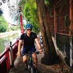 biking through the alleys with Jazzy
