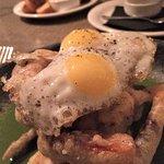 soft shell crab with quail egg