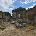 Pheidias' workshop. Note the remains of a Christian basilica built later in this ruin.