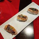 sushi de gamba flambeada