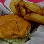 cheeseburger and onion rings side