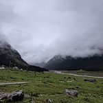 Yumthang Valley in June , Cloud covered mountains and Lot of greenery