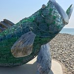 Amroth beach sea bass sculpture drawing attention to plastic pollution.