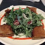 Fried green tomato salad with crab