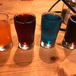 Craft soda flight: orange, black cherry, blue raspberry, root beer