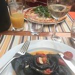Black ravioli and pizza