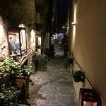 Gorgeous walkway in Cortona in the evening. Hills everywhere!