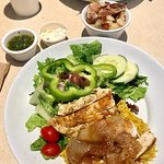 MEDITERRANEAN CHICKEN with GREEK SALAD and RICE PILAF
