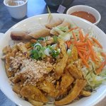 Vermicelli with BBQ Chicken and spring rolls