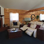 Duel power reclining couch & gas log fireplace in Midnight Forrest
